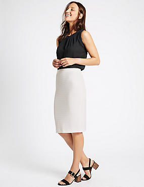 Ribbed Split Back Pencil Skirt, IVORY, catlanding