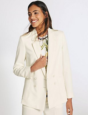 Double Breasted Patch Pocket Jacket, WINTER WHITE, catlanding