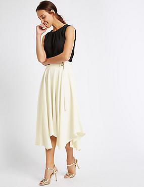 Buckle Detail Handkerchief Hem Midi Skirt, WINTER WHITE, catlanding