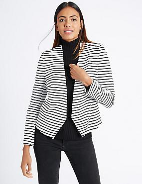 Striped Open Front Jersey Jacket  , IVORY MIX, catlanding