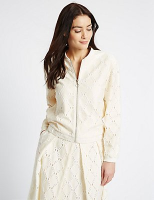 Cotton Blend Lace Bomber Jacket, CREAM MIX, catlanding