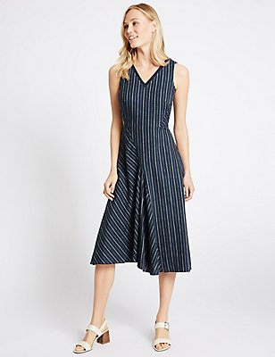 Linen Rich Striped Asymmetric Skater Dress, NAVY MIX, catlanding