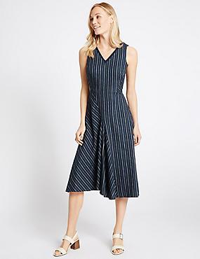 Linen Rich Striped Asymmetric Skater Dress, NAVY MIX, catlanding