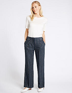 Linen Rich Striped Wide Leg Trousers, NAVY MIX, catlanding