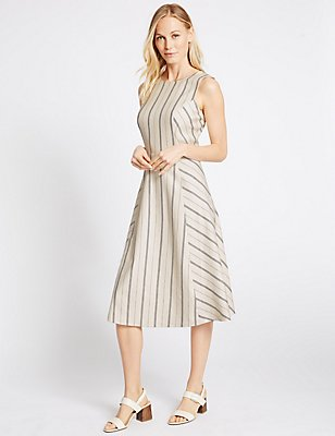 Linen Blend Striped Shift Dress, CREAM MIX, catlanding