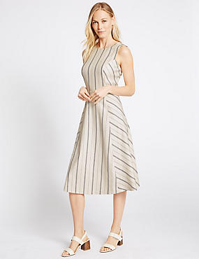 Linen Blend Striped Shift Dress, CREAM MIX, catlanding