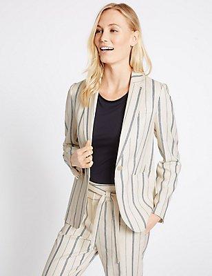 Linen Blend Striped Patch Pocket Blazer, CREAM MIX, catlanding