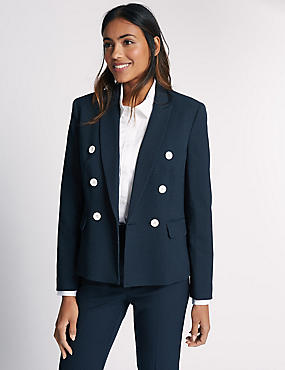 Spotted Double Breasted Jacket, NAVY MIX, catlanding