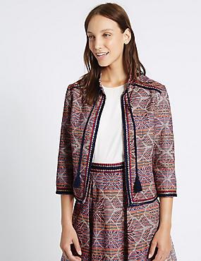 Veste en coton texturé à pampilles, MULTI, catlanding