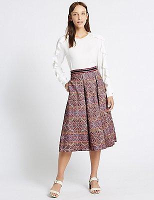 Cotton Rich Jacquard A-Line Midi Skirt, MULTI, catlanding
