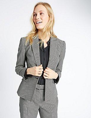 Cotton Blend Jacquard Print Jacket, BLACK/WHITE, catlanding