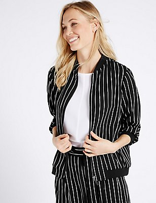 Striped Bomber Jacket, BLACK MIX, catlanding