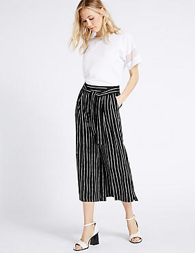 Striped Cropped Culottes , BLACK MIX, catlanding