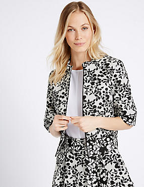 Cotton Blend Jacquard Print Jacket, CREAM MIX, catlanding