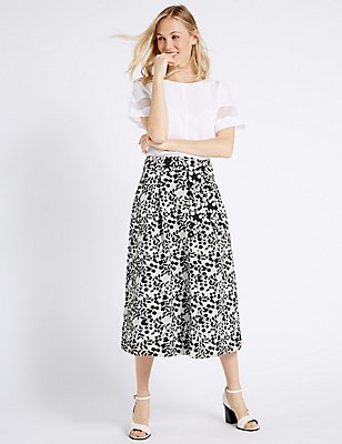 Cotton Blend Floral Print A-Line Midi Skirt, CREAM MIX, catlanding