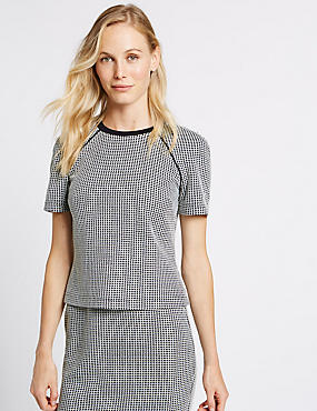 Checked Round Neck Short Sleeve Shell Top, NAVY MIX, catlanding