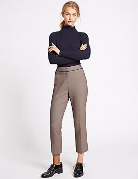 Jacquard Cropped Slim Leg Trousers, ORANGE MIX, catlanding