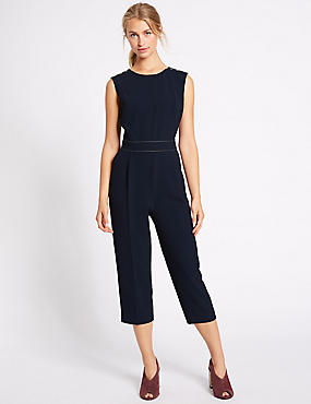 Stitched Waist Sleeveless Jumpsuit, NAVY MIX, catlanding