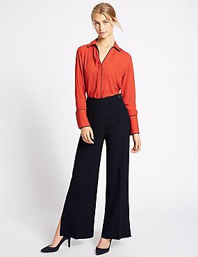 Split Detail Straight Leg Trousers, NAVY, catlanding