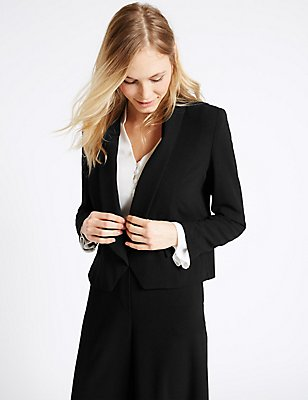 Cropped Crepe Jacket, BLACK, catlanding
