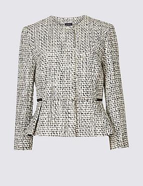 Cotton Blend Textured Peplum Jacket, WHITE MIX, catlanding