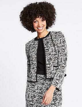 Jersey Jacquard Print Blazer , BLACK MIX, catlanding