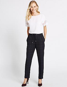 Checked Drawstring Straight Leg Trousers, NAVY MIX, catlanding