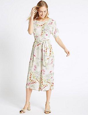 Floral Print Culottes Jumpsuit with Belt, CREAM MIX, catlanding