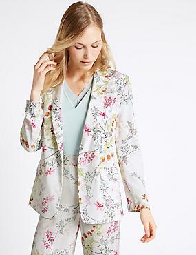 Floral Print Jacket, CREAM MIX, catlanding