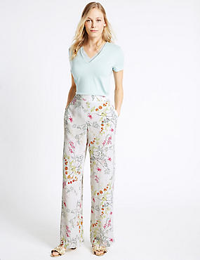 Floral Print Wide Leg Trousers, CREAM MIX, catlanding