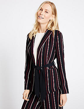 Striped Soft Jacket, NAVY MIX, catlanding