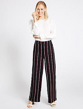 Striped Wide Leg Trousers, NAVY MIX, catlanding