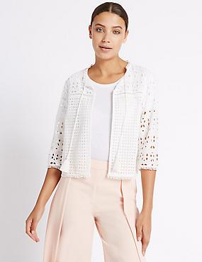 Pure Cotton Broderie Tassle Tie Jacket, SOFT WHITE, catlanding