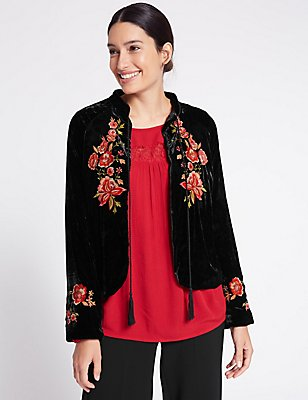 Drawstring Floral Embroidered Jacket, BLACK MIX, catlanding