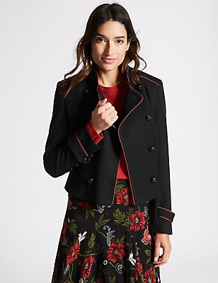 Contrast Piped Jacket, BLACK, catlanding