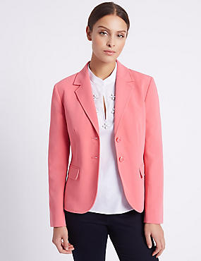 Patch Pocket 2 Button Blazer, PINK, catlanding