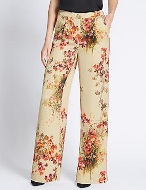 Secret Garden Print Wide Leg Trousers, GOLD MIX, catlanding