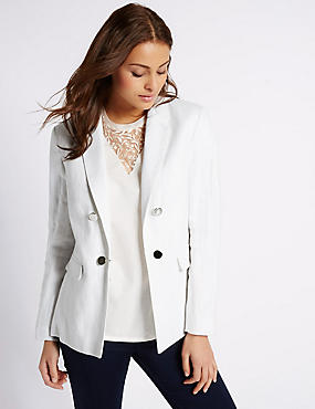 Linen Rich Double Breasted Jacket, SOFT WHITE, catlanding