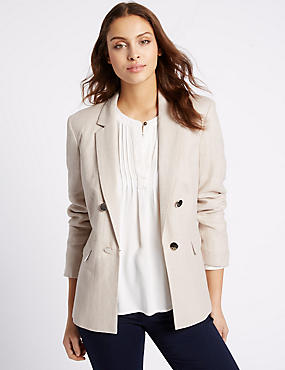 Linen Rich Double Breasted Jacket, NATURAL MIX, catlanding
