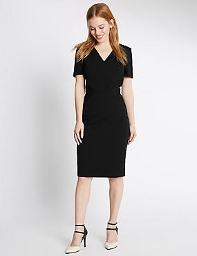 PETITE Multi Stitch Lined Shift dress, BLACK, catlanding