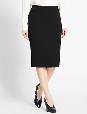 PETITE Back Split Pencil Skirt, BLACK, catlanding
