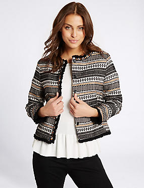 Cotton Blend Textured Trophy Jacket, BLACK MIX, catlanding