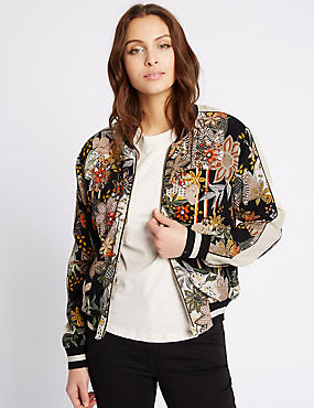 Sporty Print Beaded Bomber Jacket, BLACK MIX, catlanding