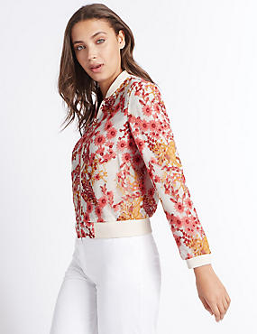 Embroidered Mesh Bomber Jacket, CREAM MIX, catlanding