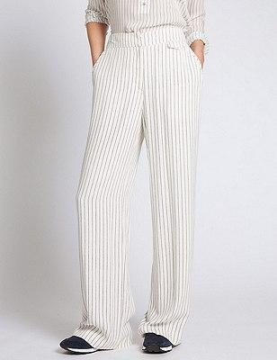 Pantalón de rayas de pata ancha, MEZCLA DE TONOS BLANCOS, catlanding