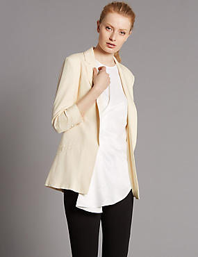 Ruched Sleeve Blazer, CREAM, catlanding
