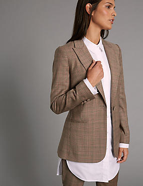 Wool Blend Checked Jacket , CAMEL MIX, catlanding