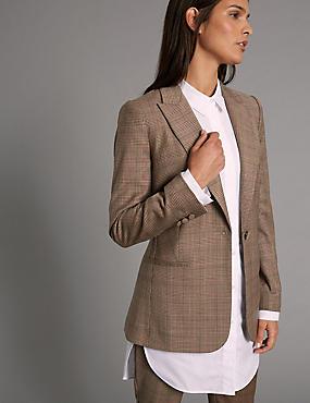 Veste en laine mélangée à carreaux , CAMEL ASSORTI, catlanding