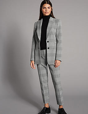 Checked Blazer, BLACK MIX, catlanding