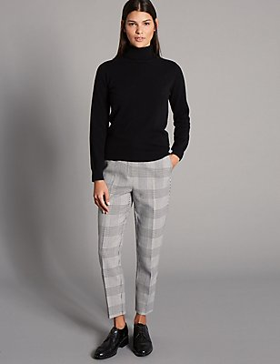 Prince of Wales Check Trousers, BLACK MIX, catlanding